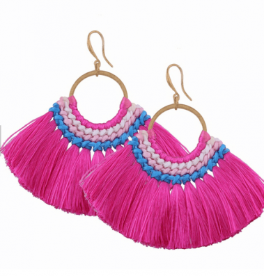Hot pink Fan Tassel Earrings