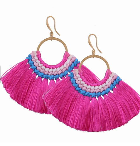 8c26b1f3702 Hot Pink Fan Tassel earrings