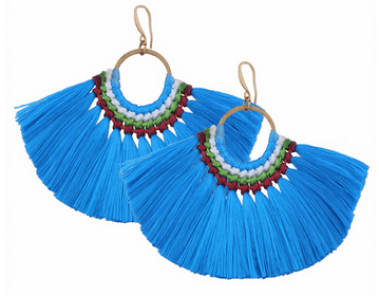 Blue Fan Tassel Earrings