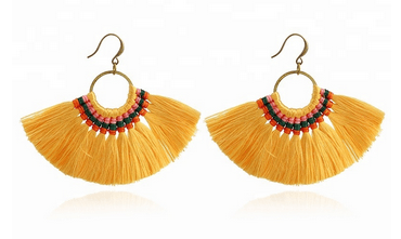 Mustard Fan Tassel Earrings