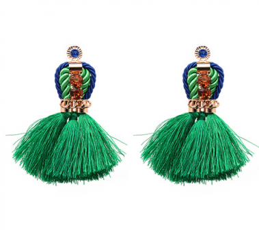 Green Royal Tassel earrings