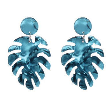 Blue monstera earrings dance accessories