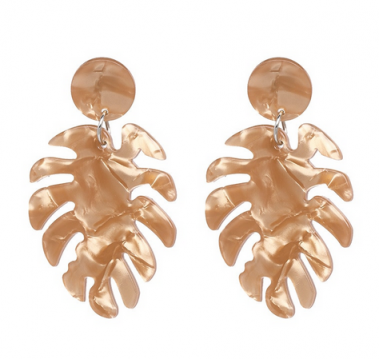 Light brown monstera earrings dance accessories