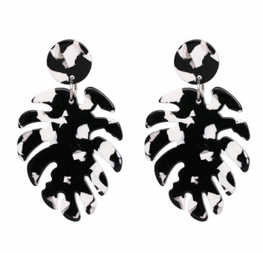 black and white monstera earrings dance accessories
