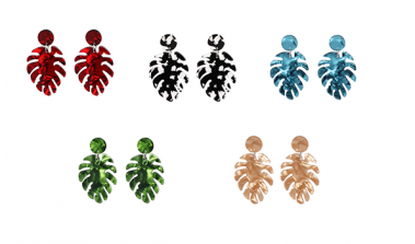 Monstera Earrings WB